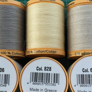 Gutermann Single Reels  -100% Cotton 400 and 800 metre threads