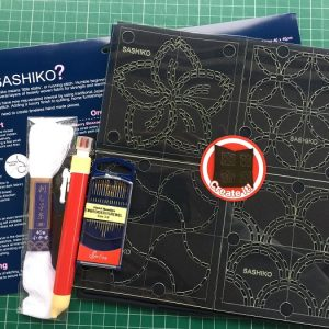 Sashiko or Sashico Starter kit, templates, fabric, needles, thimbles and thread