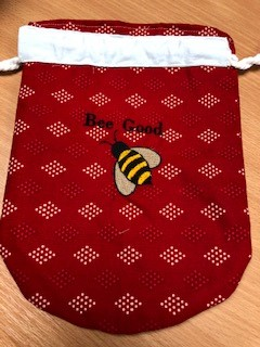 LaceyMays Haberdashery Dolly Bag Bee goo on red