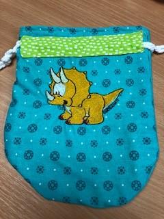 LaceyMays Haberdashery Handmade Dolly bag Dino on Green