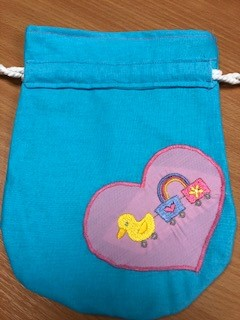 LaceyMays Haberdashery Handmade Dolly bag Appliques Duck with trucks and rainbow